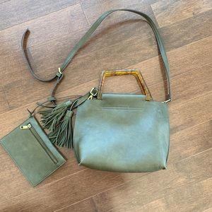Army Khaki Green Anthropologie Vegan Leather Purse